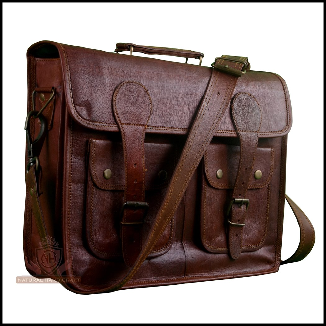 41f18fe236 durable service Laptop Messenger Office Bag Vintage Goat Leather Travel  Office Laptop Crossbody Shoulder Bag Office