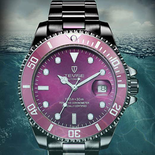 Amazon.com: Swiss Luminous Submariner Watch Mens Automatic Mechanical Watch Fashion Stainless Steel Waterproof Watch (Black - Purple): Watches