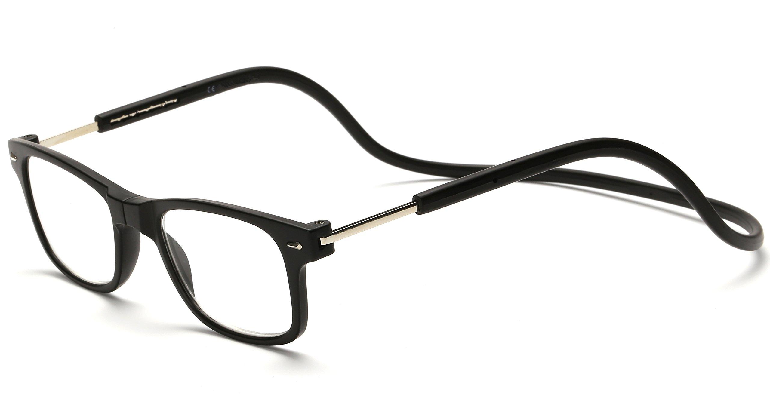 Adjustable Front Connect Reader Click Magnetic Reading Glasses Black 200