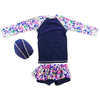 Baby Girls Kids Toddler Long Sleeve Rash Guard UV Swiming Top+Tutu Skirt Swiming Pants With Caps