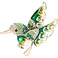 EVER FAITH Austrian Crystal Enamel Lovely Humming Bird Animal Brooch Pin Gold-Tone
