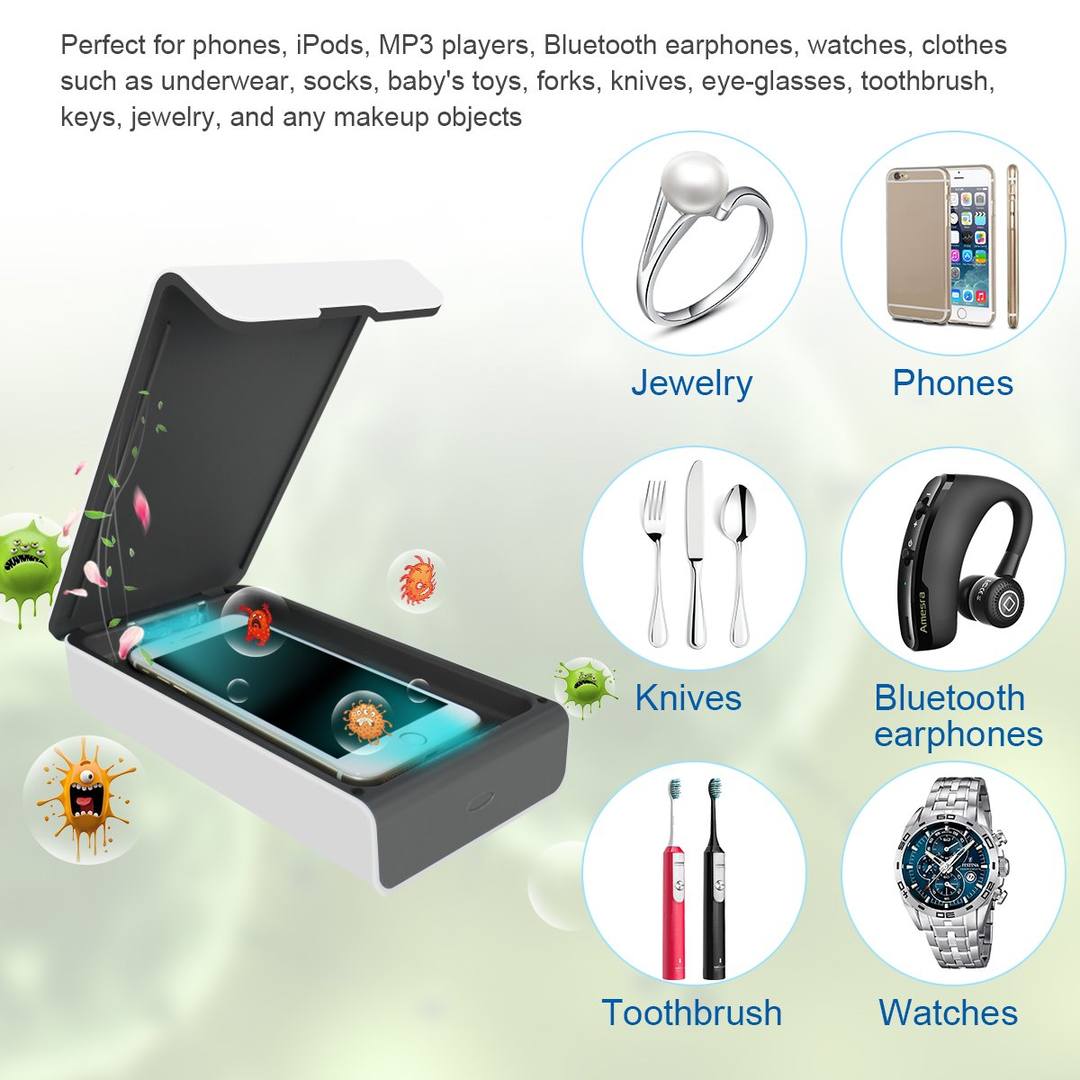 Multi-Use UV Light Disinfection for Smartphone iPhone 6 6s 7s Plus Toothbrush Watches Jewelry White Aromatherapy Hub UV Sterilizer Cleaner Case Portable UV Cell Phone Sanitizer with USB Charger
