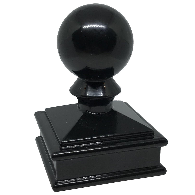 "2"" x 2"" Aluminium Ball Top Post Cap for Metal Posts - Pressure Fit - Black"