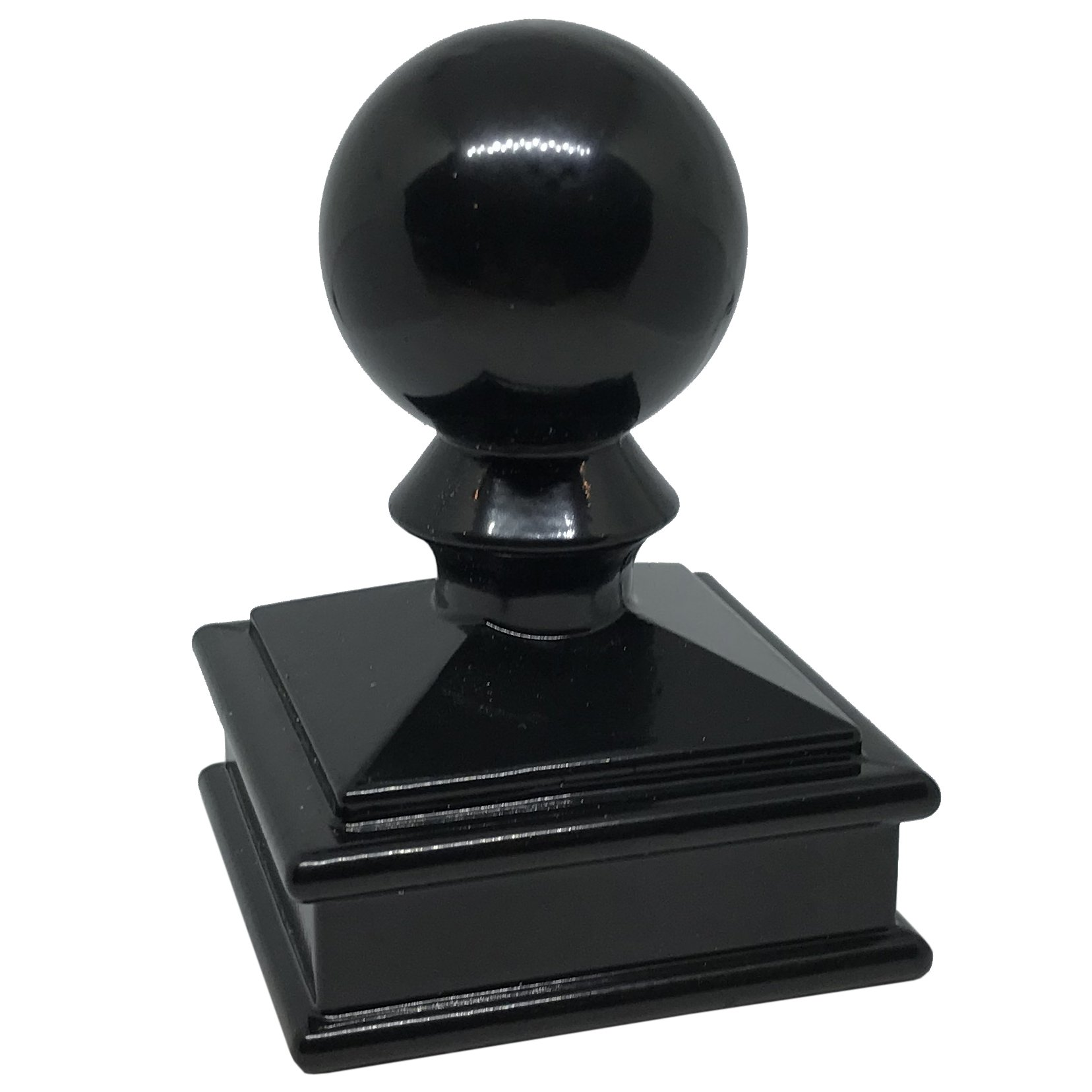 2'' x 2'' Aluminium Ball Top Post Cap for Metal Posts - Pressure Fit - Black