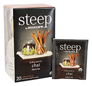 steep Organic Chai Black Tea 20 Count Box (Pack of 1), Certified Organic, Gluten-Free, Kosher Tea in Foil-Wrapped Bags