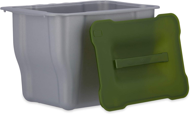 Relaxdays, Abfallsammler, Kitchenbox für Biomüll, Multifunktionsbox, mit  Deckel, 15 Liter, grau Abfallbehälter küche, Plastik, Anthrazit, 115.15 x 15.15  x