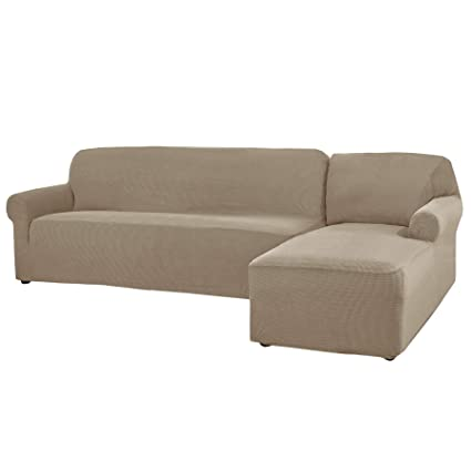 Miraculous Chun Yi 2 Pieces L Shaped Jacquard Polyester Stretch Fabric Sectional Sofa Slipcovers Right Chaise Sand Andrewgaddart Wooden Chair Designs For Living Room Andrewgaddartcom