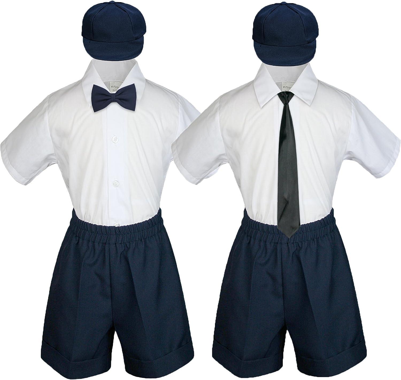 Baby Toddler Boy Kid Wedding Party Suit Navy Shorts Shirt Hat Necktie Set Sm-4T