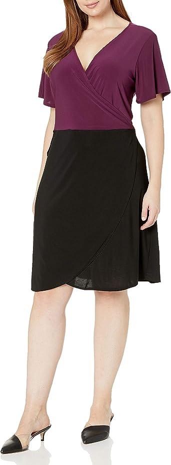 Star Vixen Womens Plus-Size Short-Sleeve A-Line Dress