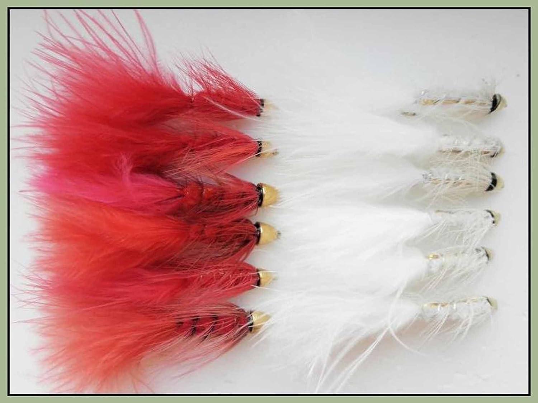 /Rot und Wei/ß/ 12/Conehead Bullet Trout Fliegen/ /schnell sinkend Angeln Fliegen