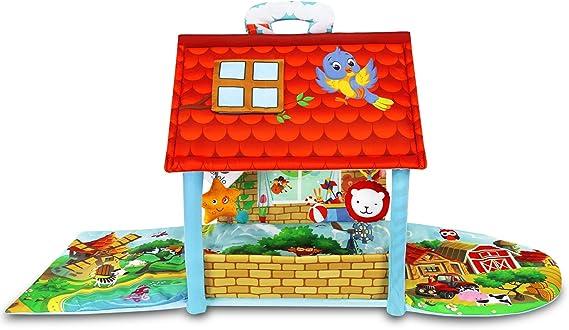 multicolore Lionelo Agnes 2en1 tapis bebe tapis avec une maison jouets hochets et anneaux de dentition inclus mat/ériaux doux color/és et durables grande taille