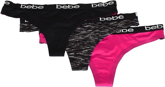 sizes M L NWT Bebe Women/'s Panties 3-Pack Seamless Thongs Heart black pink gray