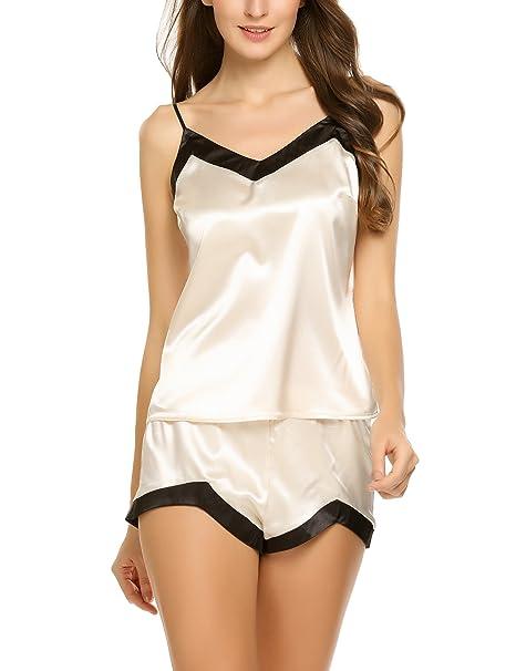 c33da0aac Ekouaer Sexy Satin Shorts Pajama Set Sleevelss Silk Sleepwear at ...