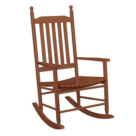 [casa.pro] Mecedora marrón de madera maciza – Silla para relax – para mecerse - para salón, balcón jardín