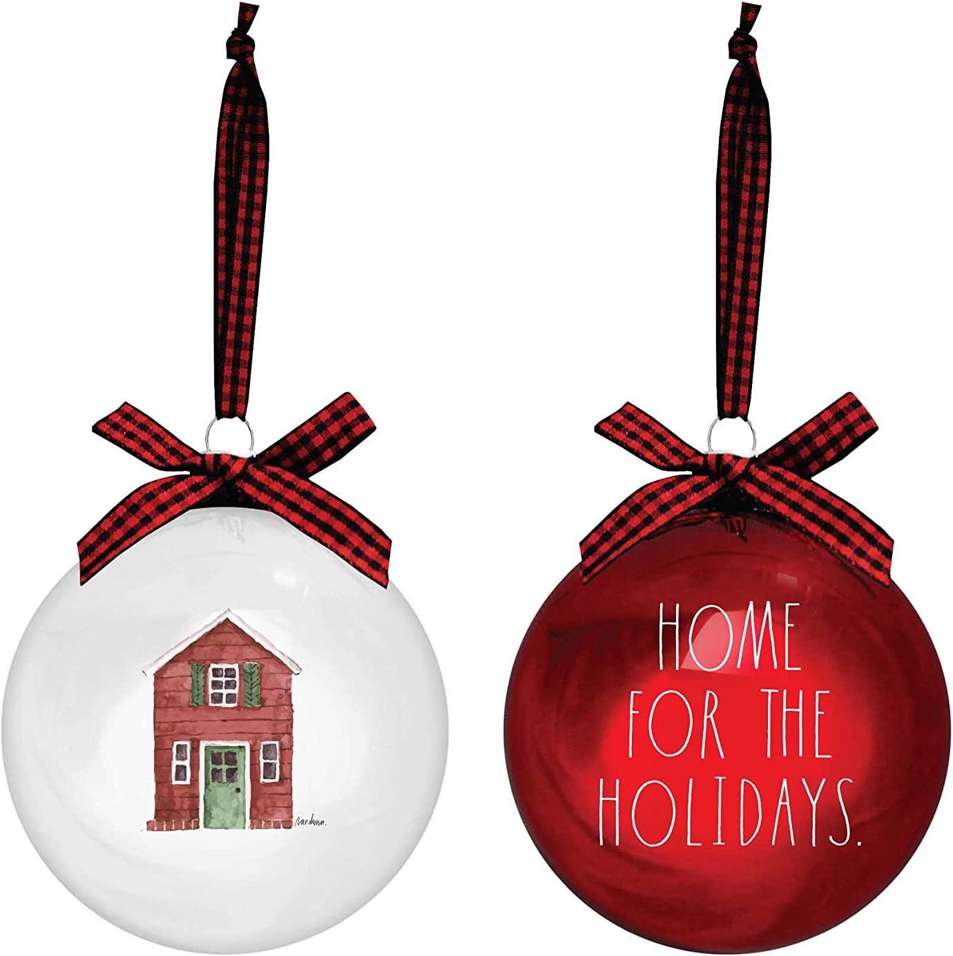 Rae Dunn Christmas Ornaments - Set of 2 Glass Balls - 100mm / 3.94 Inch Large Hanging Holiday Decorations for Xmas Tree Home for The Holidays