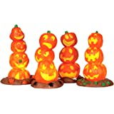 Lemax Spooky Town Halloween Light Up Pumpkin Stack, Pack of 4 #34623