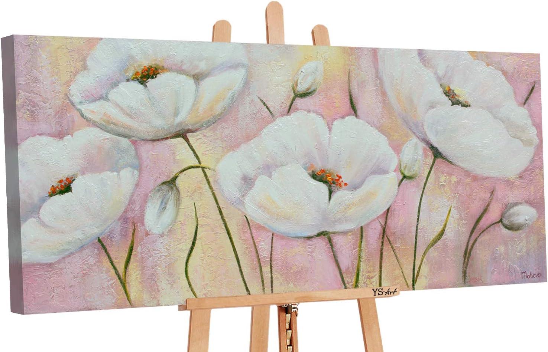 YS-Art | Cuadro pintado a mano Las flores queridas | cuadro moderno acrilico | 115x50 cm | lienzo pintado a mano | cuadros dormitories | único | Rosado