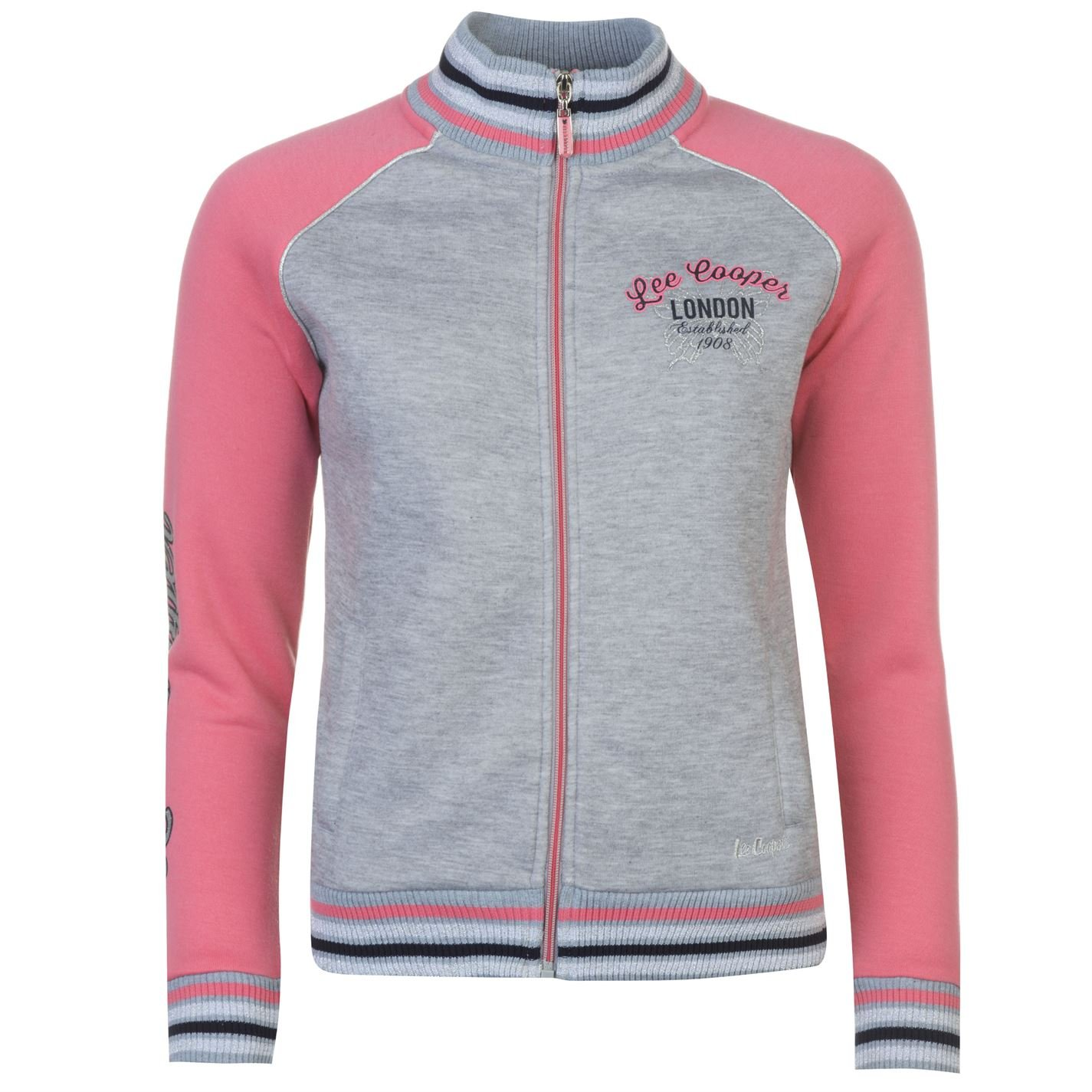 Lee Cooper Womens Glitzy Zipped Jacket Full Zip Sweater Coat Top Jumper Pullover Grey M/Pink 10 (S)