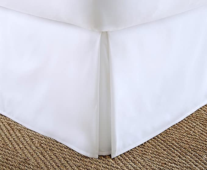 White, King Hotel Collection Bedskirt Bed Ruffle Solid Pleated Brushed Soft Microfiber Fabric Top 14 Drop New