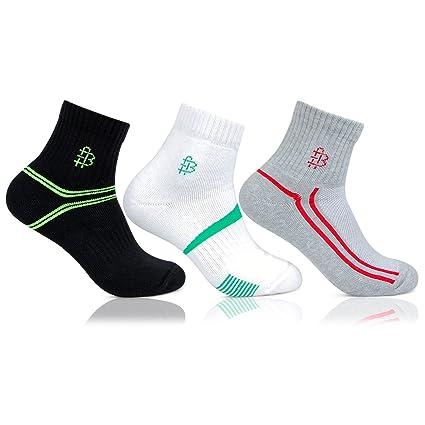 Bonjour Men's Multicolour Sports Ankle Length (Pair of 3) BRO7005ANK-PO3_Multicolor)