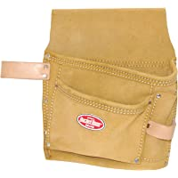 Bucket Boss 54489SP Suede Leather 3-Pocket Nail and Tool Bag with Belt