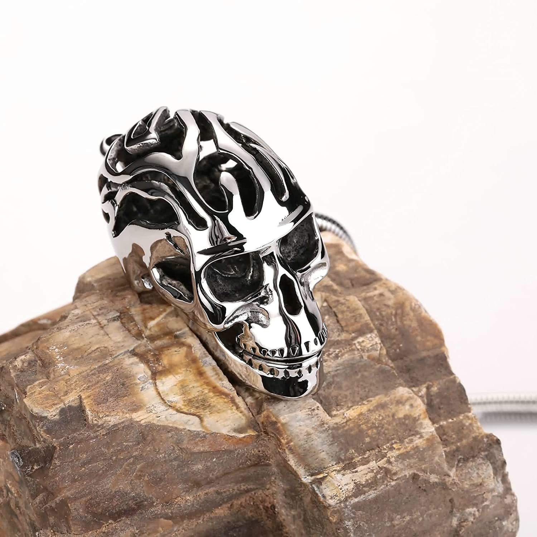 LOPEZ KENT Stainless Steel Necklace for Men Skull Skull Necklace Silver Black Necklace Pendant Vintage