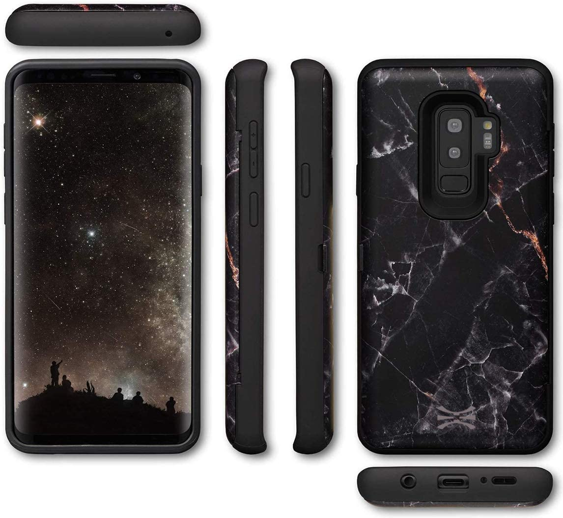 Mirror /& USB Adapter for Samsung Galaxy S9 TORU CX PRO Galaxy S9 Wallet Case Pattern with Hidden Credit Card Holder ID Slot Hard Cover Black Marble