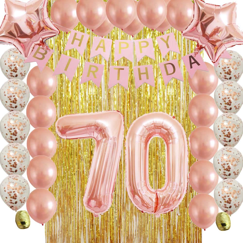Amazon Rose Gold 70th Birthday Decorations Party Supplies Kit For WomenMenAdult With Metallic Foil Curtain And Confetti Latex Balloons As Photo