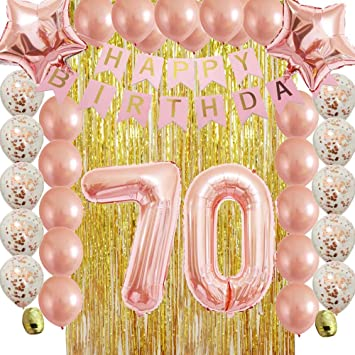 Rose Gold 70th Birthday Decorations Party Supplies Kit For WomenMenAdult With