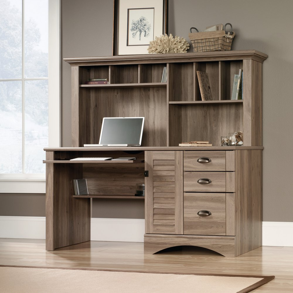 Lovely Amazon.com: Sauder 415109 Salt Oak Finish Harbor View Computer Desk With  Hutch: Kitchen U0026 Dining