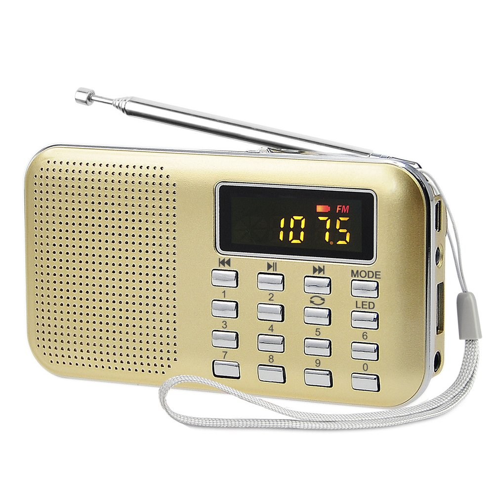 LU2000 Ultra-thin Mini Portable AM+FM Radio Media Speaker MP3 Music Player, Support TF Card/USB Disk with LED Screen Display and Emergency Flashlight Function (Gold)