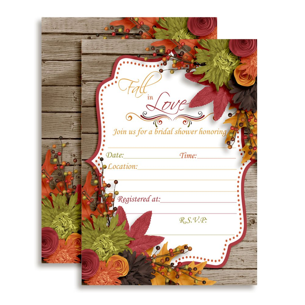 Fall in Love Autumn Leaves Bridal Shower Invitations 20 5x7 Fill in Cards with Twenty White Envelopes by AmandaCreation