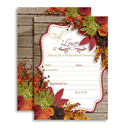 fall in love autumn leaves bridal shower invitations 20 5x7 fill in