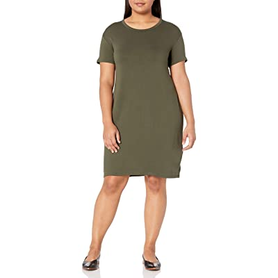 Brand - Daily Ritual Women's Plus Size Supersoft Terry Short-Sleeve Open Crew Neck Dress: Clothing