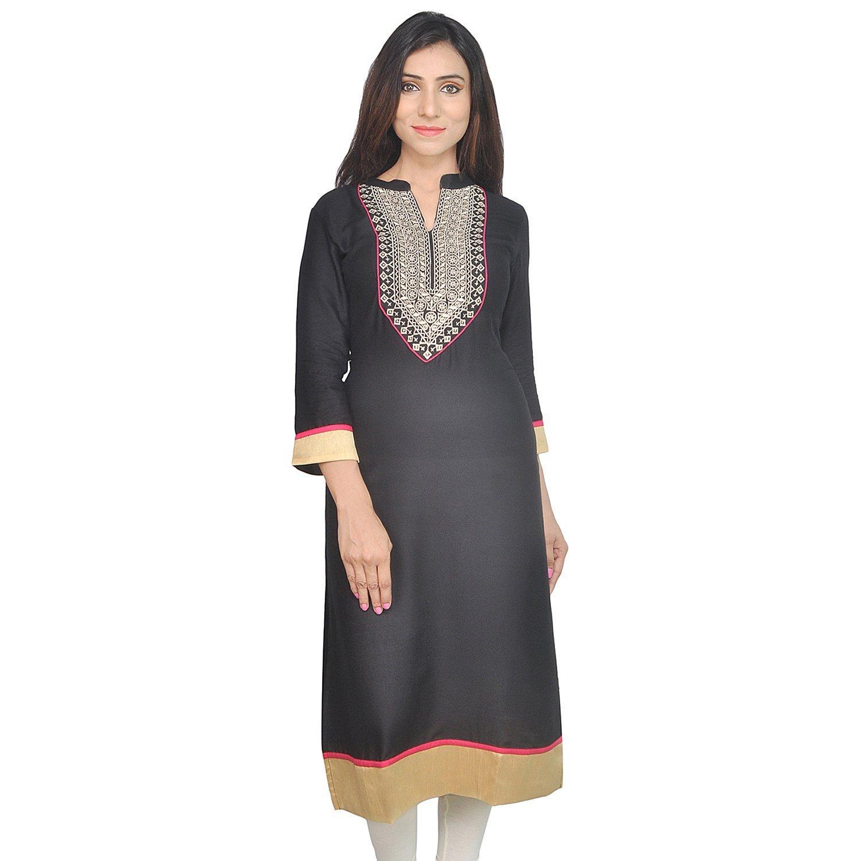 Chichi Indian Women Kurta Kurti 3/4 Sleeve Medium Size Plain with Jaipuri Embroidered Straight Black-Cream Top