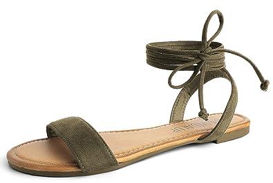 4e44e3ba1 Amazon.com | SANDALUP Tie Up Ankle Strap Flat Sandals for Women | Flats