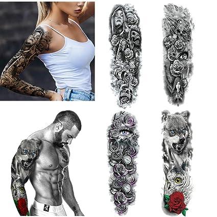 4 Hojas Tatuajes de brazo temporal Pegatinas para hombres Mujeres ...