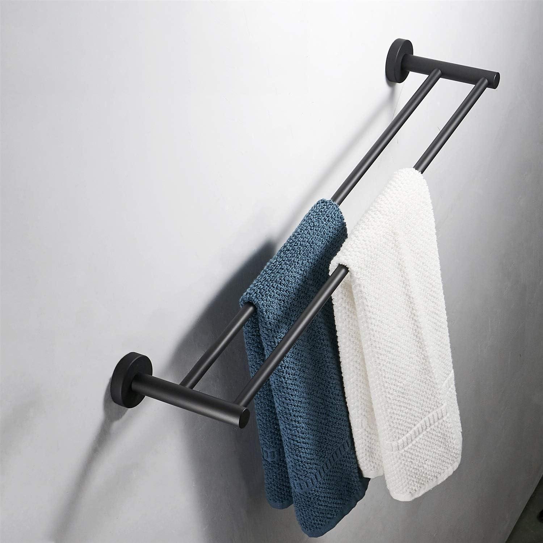 FZWAI Mate toalla de ba/ño negro barra de acero inoxidable SUS 304 doble toallero estante colgante de hardware Aseo polo Size : 40cm