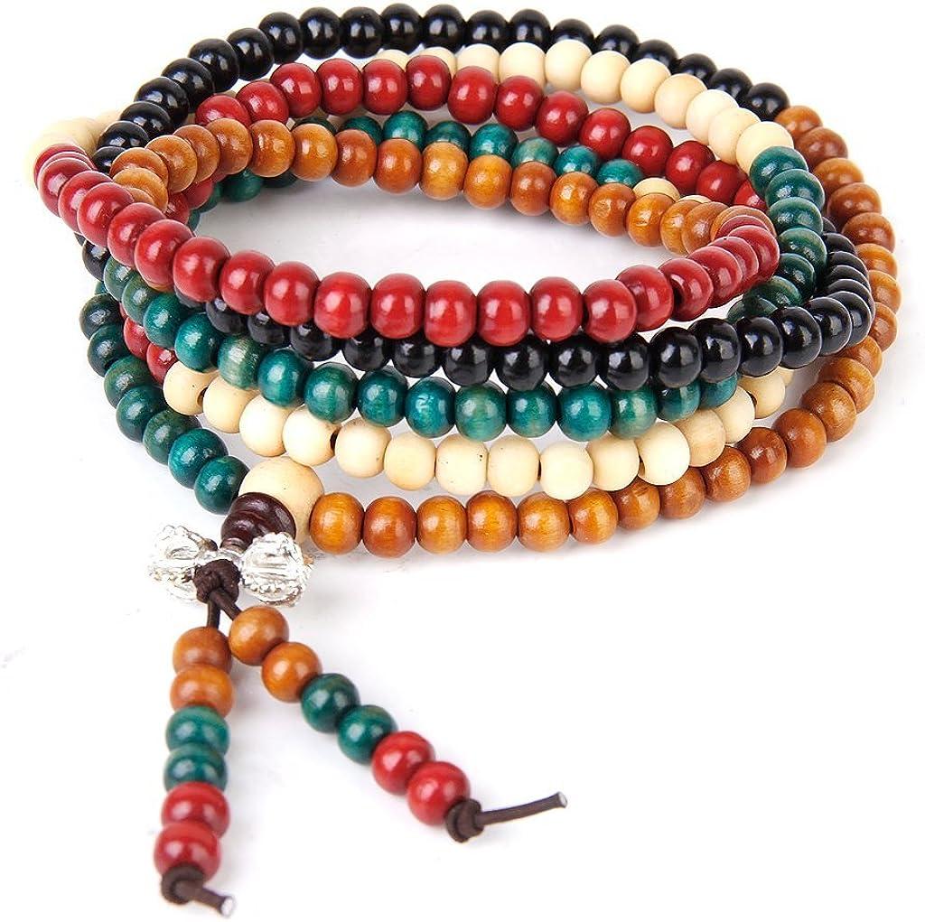 Pulsera tibetana de cuentas de oración, brazalete Mala budista de 108 piedras de cristal, 045087