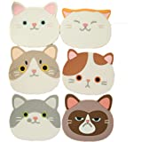JLHua Silicone Multi-Use Cartoon Cat Trivet Mat(set of 6 Pack)Insulated Flexible Durable Non Slip Hot Pads and Coasters Cup Mats