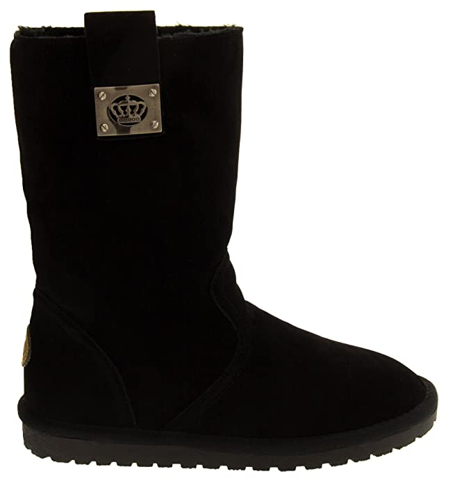 Welcome To Buy Now Keddo Womens BLACK or BROWN Faux Suede Warm Lined Flat Winter Bootse