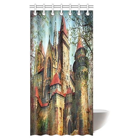 InterestPrint Gothic Medieval Decor Shower Curtain Princess Castle Cartoon Like Image Art Print Fabric Bathroom