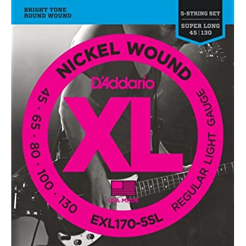 d 39 addario eps170 5sl 5 string prosteels bass guitar strings light 45 130 super. Black Bedroom Furniture Sets. Home Design Ideas