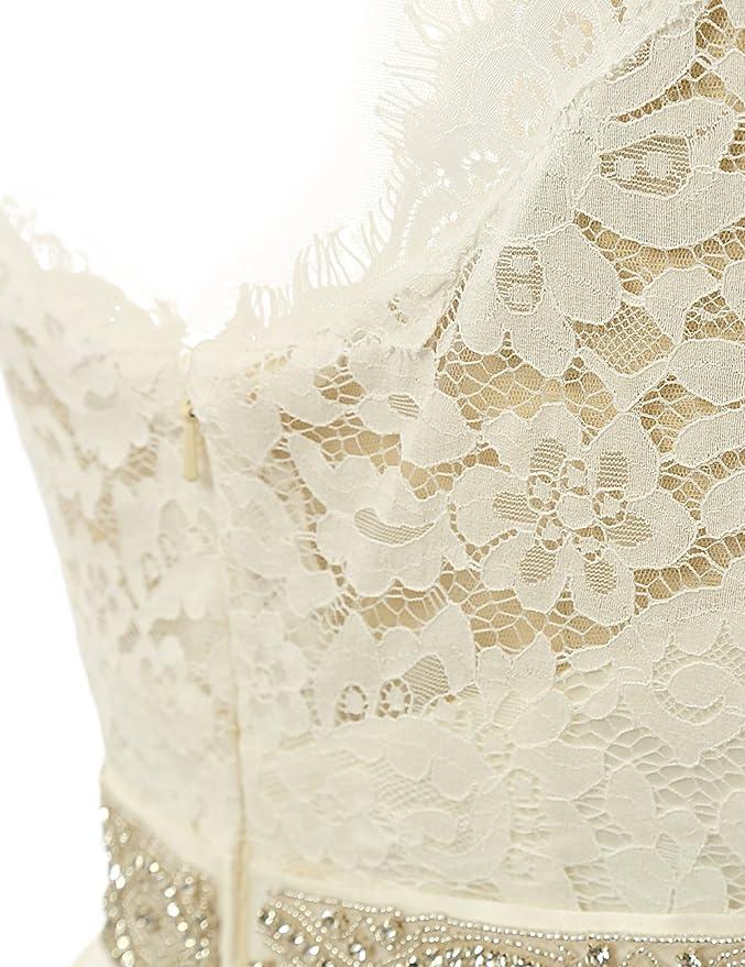 JAEDEN Vestidos de novia para la novia Vintage simple manga nupcial del vestido del casquillo: Amazon.es: Ropa y accesorios
