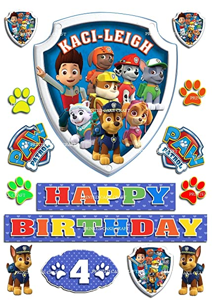 EDIBLE PERSONALISED PAW PATROL BADGE ICING CAKE TOPPER HAPPY BIRTHDAY
