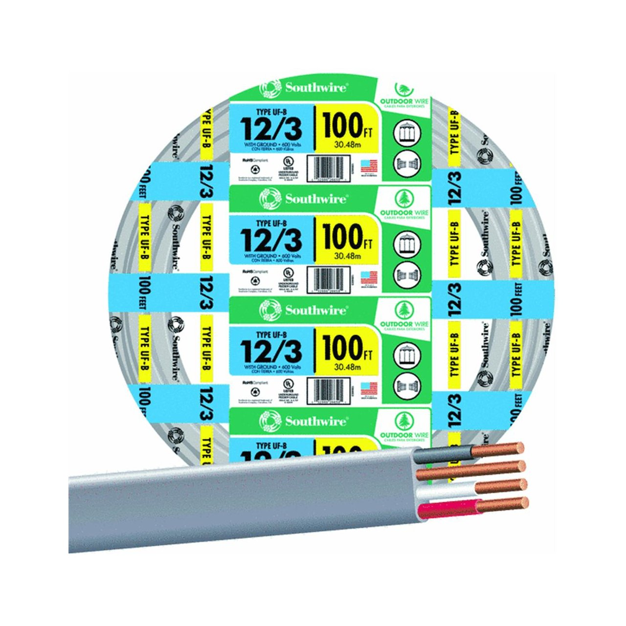 SouthWire Company 13058323 12/3WG UF Wire 100-Foot - Electrical ...
