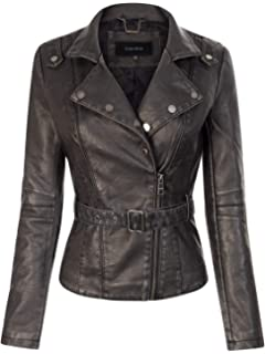 Tanming Womens Faux Leather Moto Biker Short Coat Jacket at ...