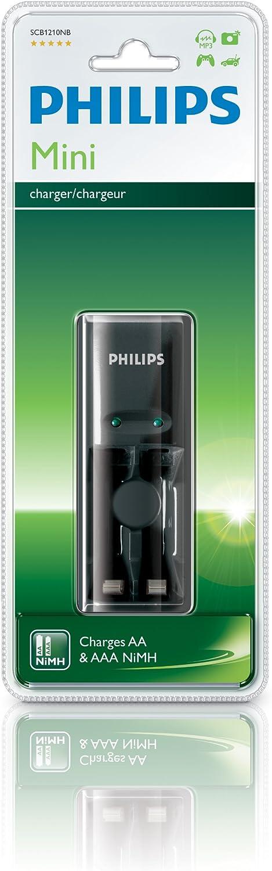 Philips MultiLife - Cargador (Níquel-metal hidruro (NiMH), AA,AAA, Negro, Cargador de baterías para interior, 220-240 V, Cadmiumfrei Quecksilberfrei Bleifrei)