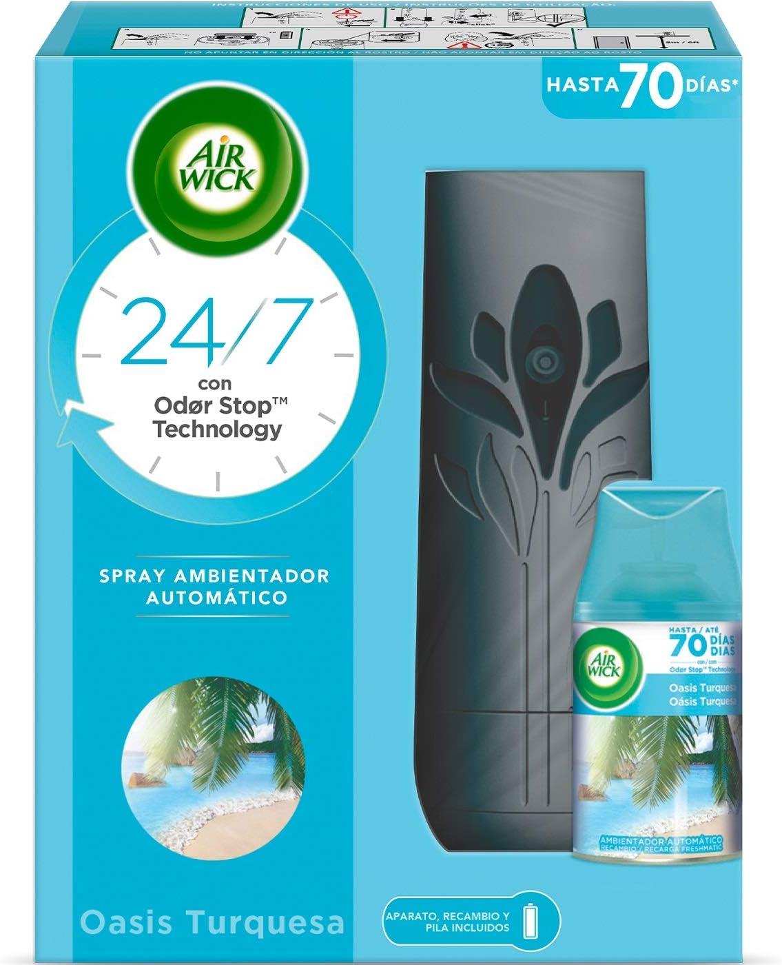 Air Wick Freshmatic Aparato y Recambio de Ambientador Spray Automático, Esencia para Casa con Aroma a Oasis Turquesa - 1 aparato + 1 recambio