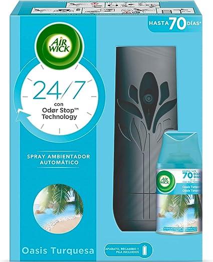Oferta amazon: Air Wick Freshmatic Aparato y Recambio de Ambientador Spray Automático, Esencia para Casa con Aroma a Oasis Turquesa - 1 aparato + 1 recambio, Negro (3040036)